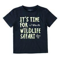 ATTENTION T-Shirt mit Wording-Print - Dark Navy