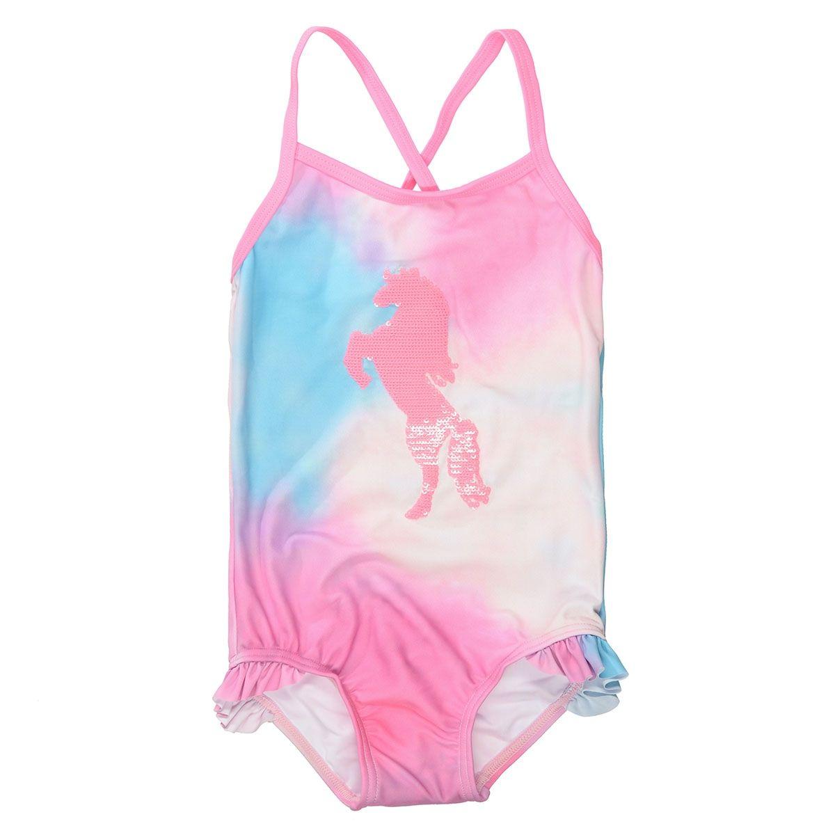 Badeanzug mit Pailletten-Pferd - Pink Batik