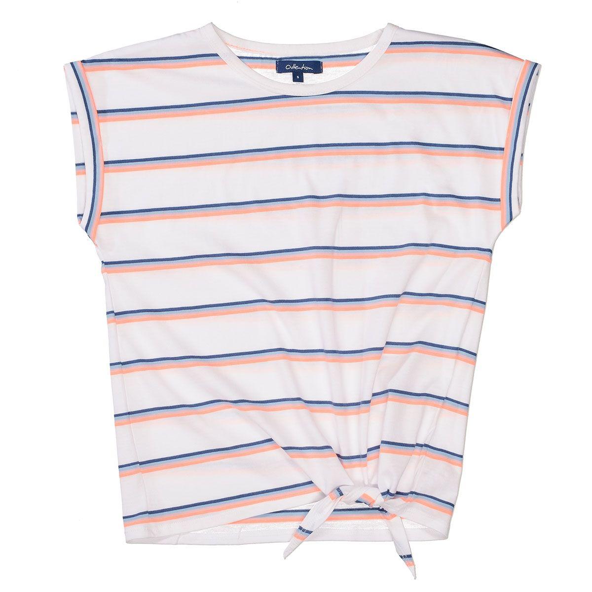 ATTENTION T-Shirt mit Streifen-Design - White