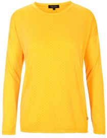 FRY DAY Pullover mit Web-Muster-Allover - Curry