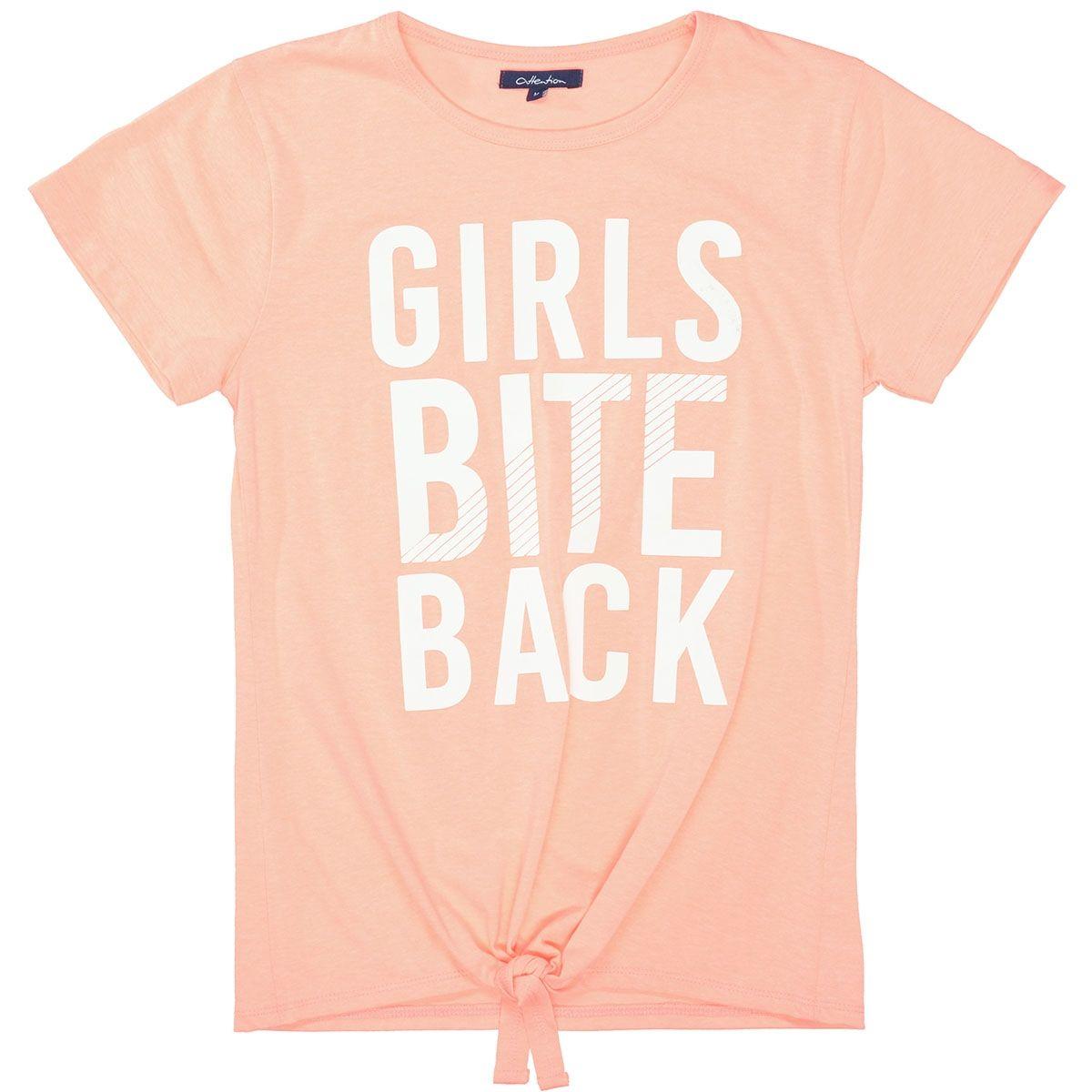 ATTENTION T-Shirt mit Knoten - Neon Peach