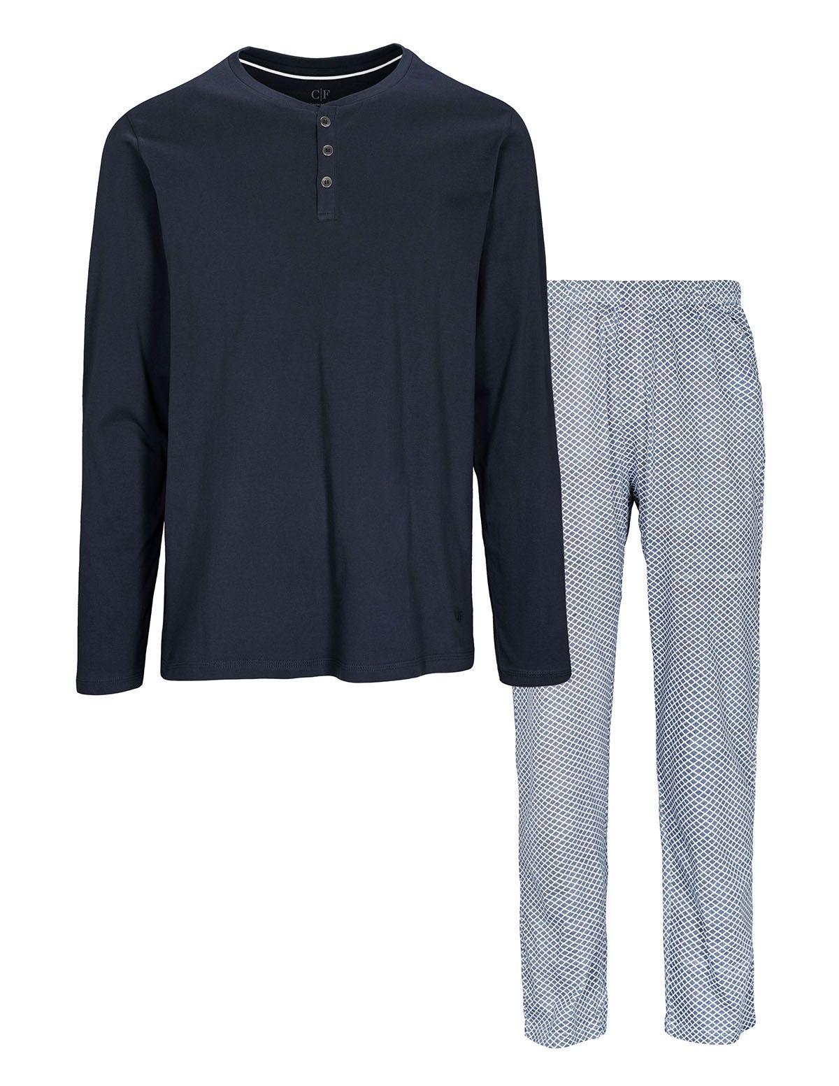 COMMANDER Schlafanzug - Dark Blue White