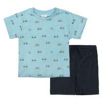 Shorty Pyjama mit Allover-Print - Light Ocean