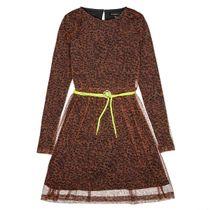 Kleid mit Neon-Kordel - Walnut AOP