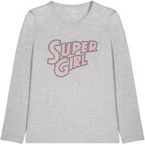 Shirt Super Girl - Grey Melange