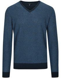 V-Pullover Uni Struktur-navy-star-blue