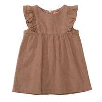 Baby Cord-Kleid mit Volants - Camel