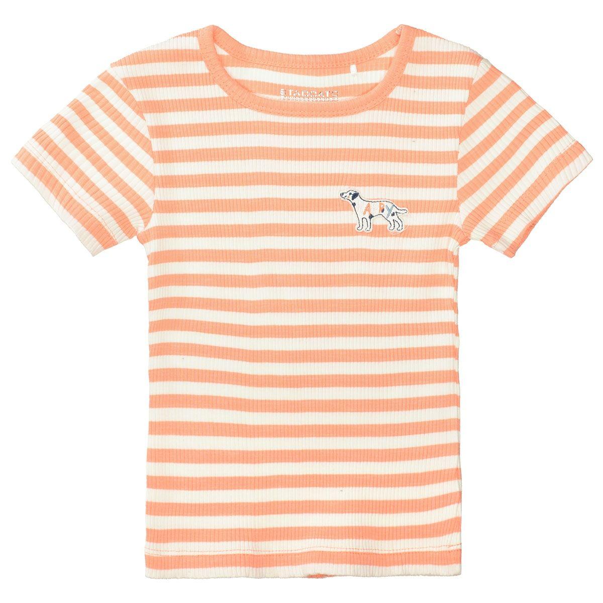 T-Shirt im Streifen-Design - Light Orange