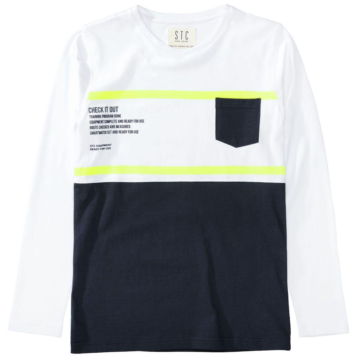 Langarmshirt mit Brusttasche - White Navy