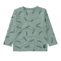 BASEFIELD Langarmshirt mit Wording-Print - Dusty Green