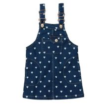 Denim-Trägerkleid mit Allover-Herzen-Print - Dark Blue Denim