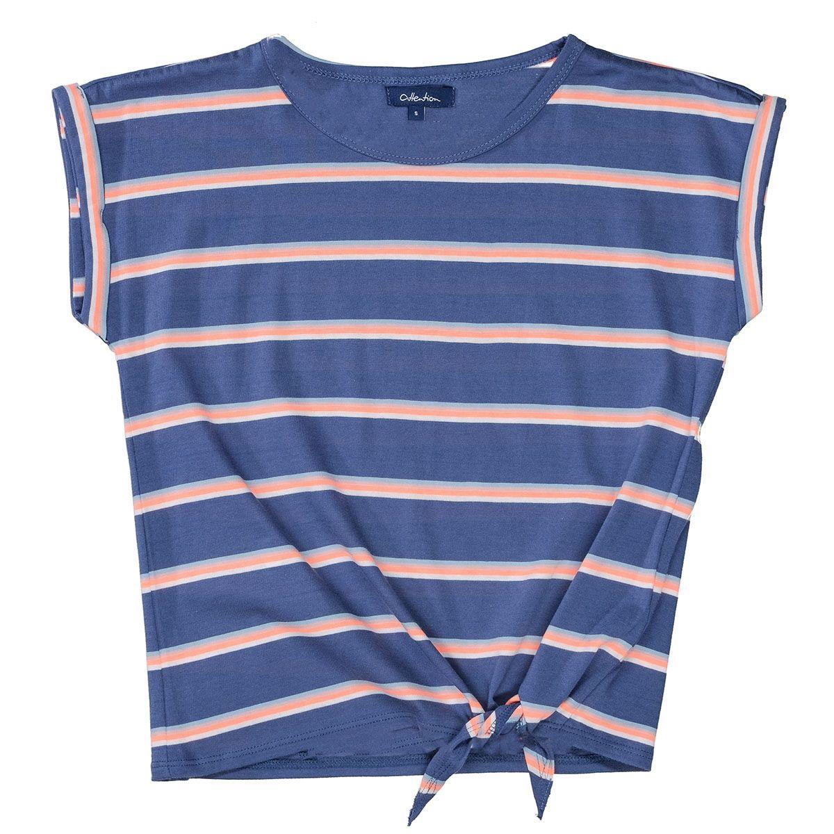 ATTENTION T-Shirt mit Streifen-Design - Jeans Blue