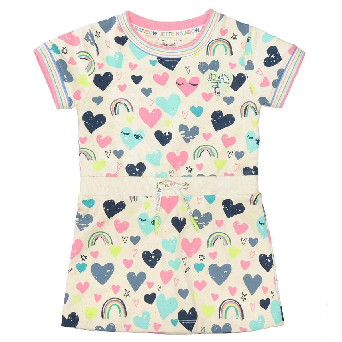 JETTE Sweat Kleid mit bunten Allover-Prints und Neppys - Softwhite