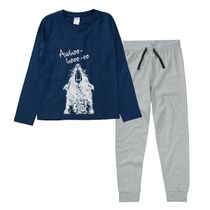 Pyjama mit Frontprint - Blue Grey Melange