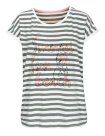 FRY DAY T-Shirt im Streifen-Design - Dark Olive