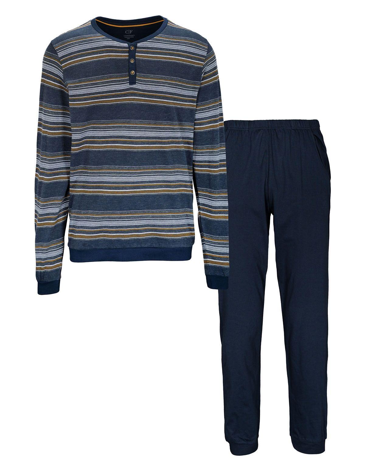 COMMANDER Schlafanzug - Dark Blue Silver Gold