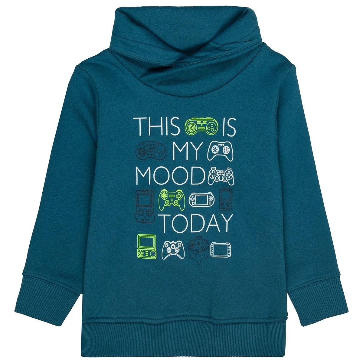 ATTENTION Sweatshirt mit Schalkragen - Petrol