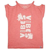 T-Shirt GOOD VIBES mit Cold-Shoulder-Ärmeln - Indian Red
