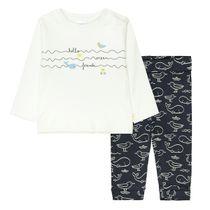 ORGANIC COTTON Pyjama mit Print - Offwhite Marine