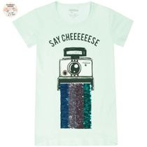 T-Shirt Say Cheese WENDEPAILLETTEN - Pastel Green