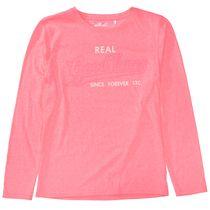 Langarmshirt mit Wording-Print - Neon Coralle