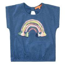 T-Shirt mit Glitzer-Regenbogen auf der Front - Dark Blue