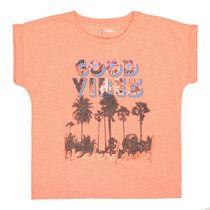 T-Shirt mit Palmen-Print auf der Front - Neon Red